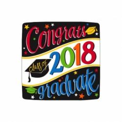 "Congrats Class of 2018 Graduate! Square Plates - 7"" ~ 18 per pack"