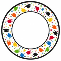 "Confetti Caps Round Plates - 10"" ~ 40 per pack"
