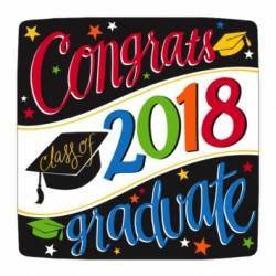 "Congrats Class of 2018 Graduate! Square Plates - 10"" ~ 18 per pack"