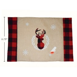 "Christmas Buffalo Plaid Jute Placemat with Reindeer Applique ~ 17.5"" x 12"""