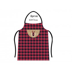 "Christmas Buffalo Plaid Apron with Reindeer Applique ~ 24"" x 33"""