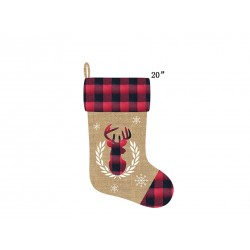 "Christmas Buffalo Plaid Burlap Stocking with Reindeer Applique ~ 20""L"