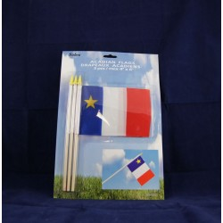 "Acadian Flag w/Stick - 4"" x 6"" ~ 3 per pack"