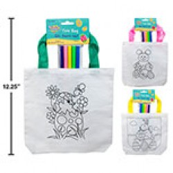 "Easter Tote Bag 8"" w/5 Coloring Pens ~ 3 asst"