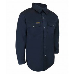 Navy Unlined Long Sleeve Shirt w/Rustproof Snaps
