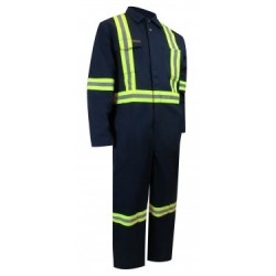 Unlined Coverall w/Reflective Stripes & Zippered Legs