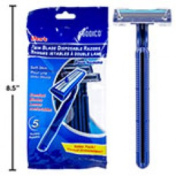 Men's Twin Blade Disposable Razors ~ 5 per pack