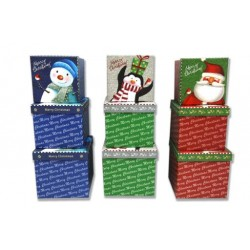 Christmas Square Gift Boxes with Glitter Lid ~ 3 per set