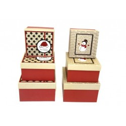 Christmas Square Gift Boxes - Matte with Red Glitter ~ 3 per set