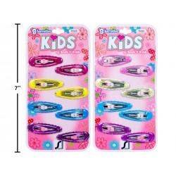 Kid's Glitter Epoxy Coated Barrettes ~ 8/pk