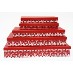 Christmas Rectangular Flat Gift Boxes ~ 5 per set