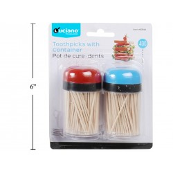 Wooden Toothpicks w/Holder - 2 per pack ~ 400 pieces