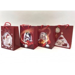 Christmas Medium Gift Bag ~ Puppies/Kittens