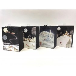 Christmas Medium Gift Bag ~ Santa Night Scenes