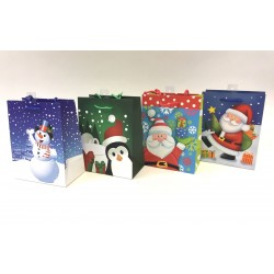 Christmas Medium Gift Bag ~ Santa/Snowman