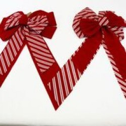 "Christmas Red with White Stripes Velvet Bow ~ 13"" x 28"""