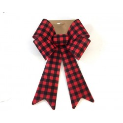 "Christmas Burlap PVC Buffalo Plaid Bow ~ 9"" x 15"""