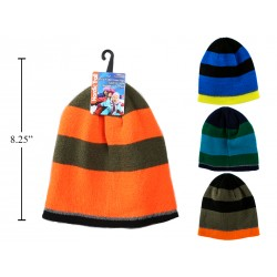 Kid's Colored Striped Beanie Hat