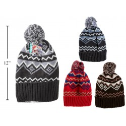 Adults Jacquard Hat with Pom Pom