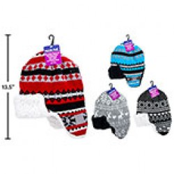 Kid's Knitted Helmet Hat w/Sherpa Lining