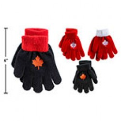 Kid's Magic Gloves with Embroidered Maple Leaf