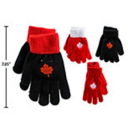 Adult Magic Gloves with Embroidered Maple Leaf