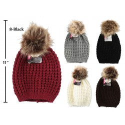 Ladies Waffle Knit Toque with Faux Fur Pom Pom