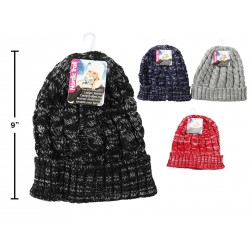 Ladies Marled Cable Knit Hat with Cuff