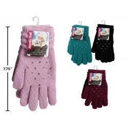 Ladies Knit Gloves with Rhinestones & Diamond Pattern
