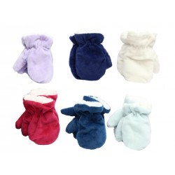 Infant Velour Plush Mittens with Sherpa Lining