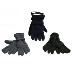 Men's Polar Fleece Gloves with Sherpa Linig & Velcro Strap at Wrist
