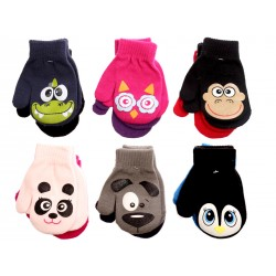 Kid's Mittens with Faces ~ 2 per pack