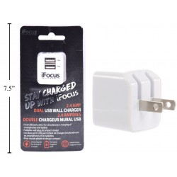 iFocus Dual Port USB Wall Charger - 2.4A/5V ~ White