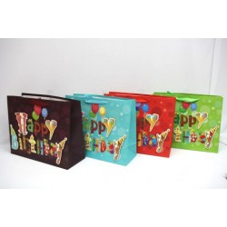 Large Gift Bags - Horizontal ~ Happy Birthday with Glitter