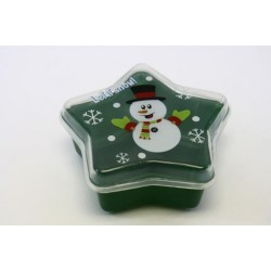 """Christmas Star Shaped Container with Snowman ~ 7.5"""" x 7.5"""" x 3-1/4"""""""