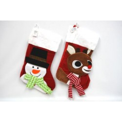 "18.5"" Christmas Velvet Stocking with Character ~ 2 asst"
