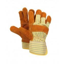 Leather Work Gloves w/Safety Cuff ~ Economy