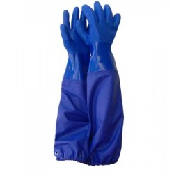 PVC Unlined Gloves w/Sleeve ~ Blue