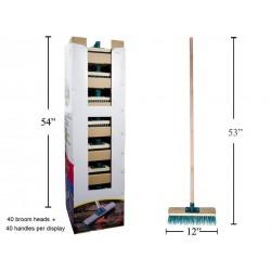 "Garage Push Broom ~ 52"" Wooden Handle + 12"" Head"