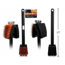 """BBQ 3-in-1 Nylon Bristle Grill Brush ~ 17"""" L"""