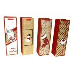 Christmas Bottle Gift Bag ~ Matte/Red Glitter