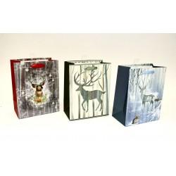 Christmas Large Gift Bag ~ Matte/Glitter Reindeer