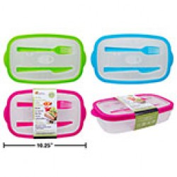 "Lunch Container w/Cutlery - 9.5"" x 6"" x 2"" ~ 3 colors"