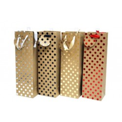 Bottle Gift Bags ~ Kraft Foil Dots