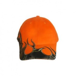Fl. Orange Cap w/Camo Flames