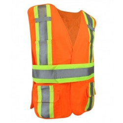 Fluorescent Orange Polyester Safety Vest w/Pockets