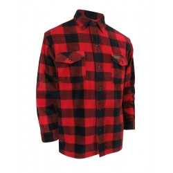 Red Plaid Fleece Shirt with Buttons {Doeskin Shirt}