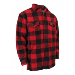Red Plaid Fleece Shirt with Sherpa Lining & Buttons