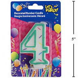 "Birthday Candle ~ Double Sided Number ""4"""