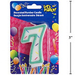 "Birthday Candle ~ Double Sided Number ""7"""